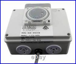 Air Switch Double 10amp Socket 24hr Timer Clock Controller Splash Pool & Spa