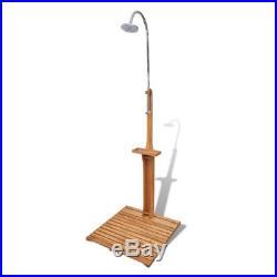VidaXL Outdoor Shower Wood Portable Mobile Pressure Adjustable Garden Camping